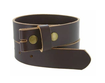 Chocolate Brown Genuine Leather Belt Strap - 1 1/4 inch wide - Snap Leather Belt For Belt Buckles -  Sale - Removable
