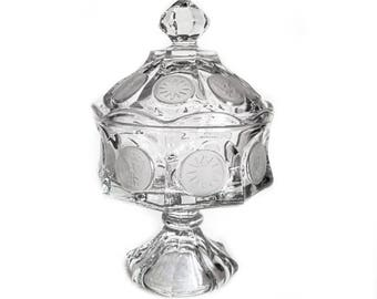 EAPG Covered Pedestal Compote - Frosted Dot Dish - Large 1800s U. S. Glass Co Cut Glass Bowl - Early American Patterned Glass - Footed Dish