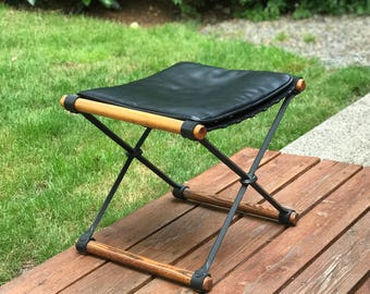 Mid Century Cleo Baldon iron, oak and leather stool