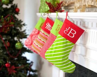 Monogram Christmas Stocking, Holiday Stocking, Embroidered Christmas Stocking, Personalized Holiday Stocking, Red Stocking, Green Stocking