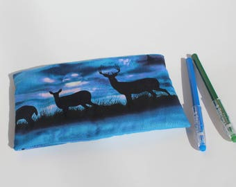 Deer Zipper Pouch Blue and Black Pencil Pouch or Make Up Bag