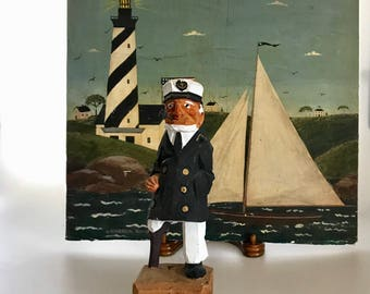Vintage Carved Wood Seaman