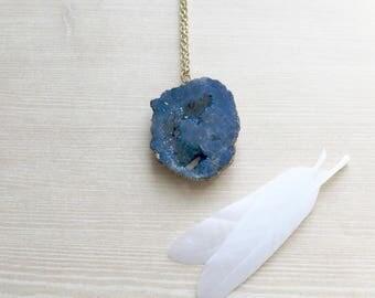 Crystal Quartz Druzy Necklace in Gold