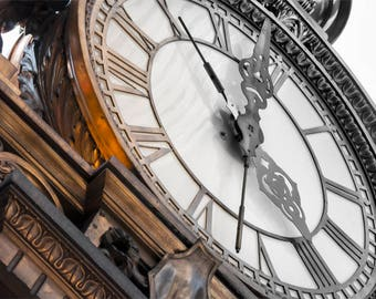 Old Clock Photograph, black, white, and bronze photograph, fine photography prints, Kaufmann's Clock