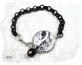 Bracelet boho chic black and white adjustable * BR803