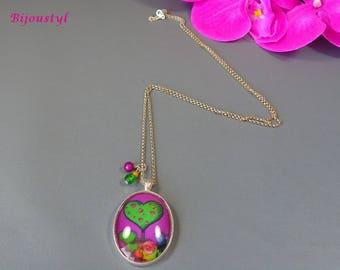 Fantasy - Cabochon 30 X 40 mm - heart - silver tone chain necklace