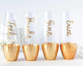 Bridesmaid Gift, Personalized Champagne Flutes, Bridesmaid Gift, Bridesmaid Proposal, Bridal Party Gifts, Bachlorette Party Gift, Rose gold