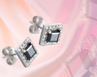Square Halo Stud Earrings, Black&White Diamonds, Delicate Sparkle, Diamond Stud Earrings, Geometric Earrings,Black Square, Fine Jewelry,Edgy