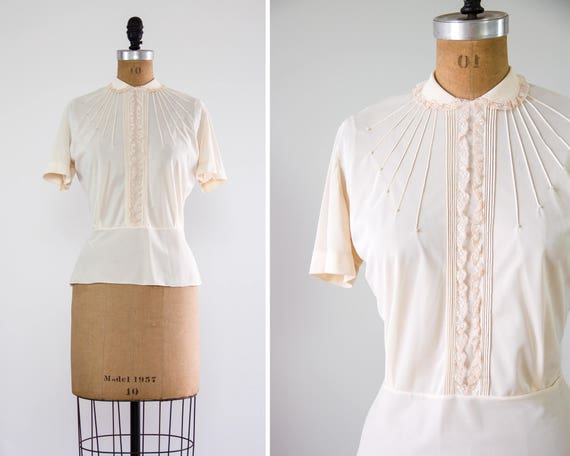 vintage 1950s nylon blouse | 50s shirt | vintage white blouse | 50s clothing | ivory lace top
