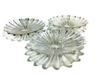 Vintage Iridescent Starburst Console Bowl * 'Celestial' Pattern by Federal Glass * Set of 3 or Just 1