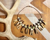 Courage Within Tribal Post-Apocalyptic Bison Tooth Jade Necklace - Single