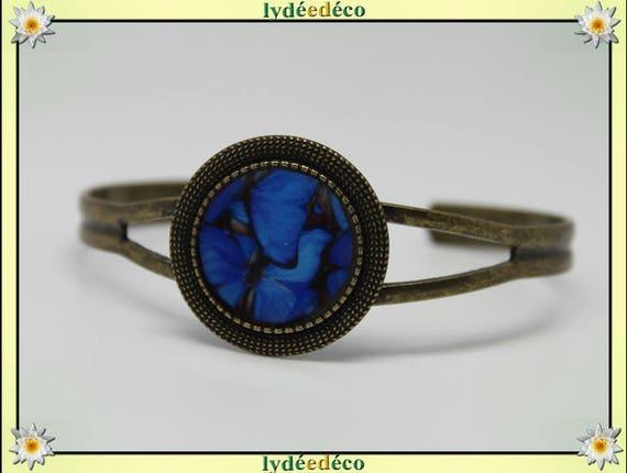 Bracelet retro vintage resin blue black Butterfly adjustable round 20mm brass bronze