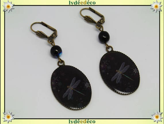 Retro Dragonfly earrings grey black flower resin pendants 18 x 25mm glass beads bronze brass