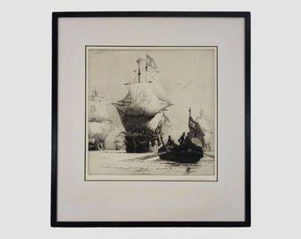 Spanish Armada Galleon Return of the Fleet Etching signed Norman Wilkinson - 20th Century, England