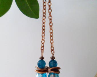 "Long ""overseas"" apatite earrings"