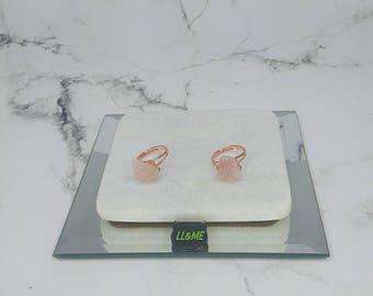 Rose quartz chunk ring, bohemian, gypsy, boho, crystal, stacking rings,