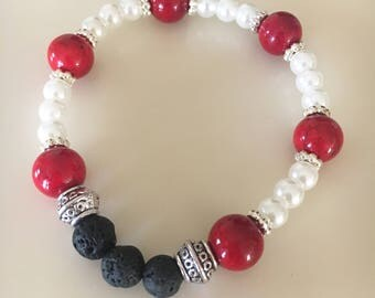 Root Chakra Red, White and Black Stone Stretch Bracelet, Lava Stone Essential Oil Diffuser Jewelry