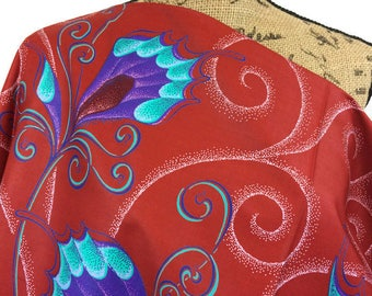African Fabric--African Wax Print Fabric--Vlisco Java Print--Red/Turquiose/Purple Butterfly Wing Floral--African Fabric by the HALF YARD