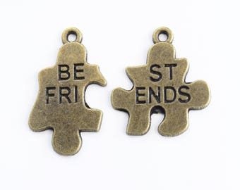 Best Friends Puzzle Piece Charms, Jigsaw Puzzle Charms, Autism Awareness Charms - 5 sets (288)