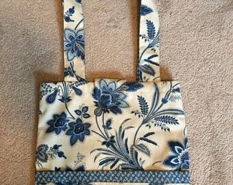 Blue & off white Floral Handbag