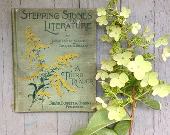 Stepping Stones to Literature, 1897, School Book, Third Reader, Charming Cover, Ethel and Eva, Red Calligraphy, Bessie Phillips, Hardcover