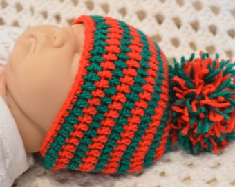 Christmas, elf/pixie crocheted hat. Red and green stripes, 0-6 months with pom pom