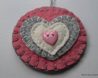 Wool Felt Hearts Ornament, Rose Pink with Gray Wool Felt Heart, Small Cotton Batting Heart, Pink Heart Shaped Button