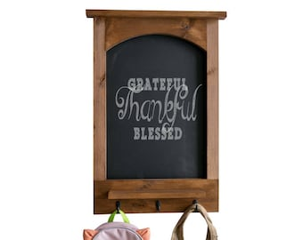 Modern Farmhouse Message Center with Chalkboard, Shelf, and Hooks