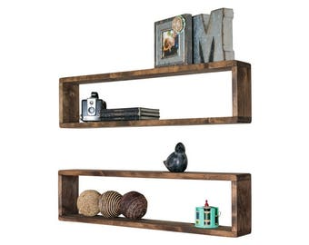 Set of 2 Long Box Shelves (Stackable) Made from Solid Wood
