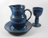 Chalice and paten communion set - 3 piece communion set - pottery communion set - blue communion set - liturgical ware - communion ware W237