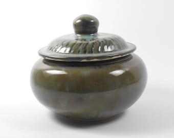 Keepsake urn - small pet urn - olive pottery jar - burial urn - urn for ashes  J84