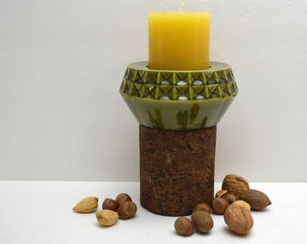 Unique Avocado Green Ceramic & Cork Candle Holder, Pillar Candle Holder, Funky 70s Style, Glossy Olive Geometric, Tall Candle Base w Candle