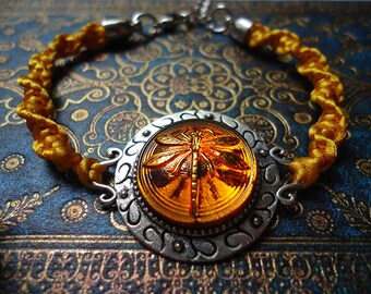 Dragonfly in Amber Outlander Inspired Braided Bracelet - Gift For Her