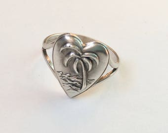 vintage uncas ring, a palm tree heart, size 6