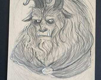 Beast Original Ink and Graphite Drawing on Toned Paper