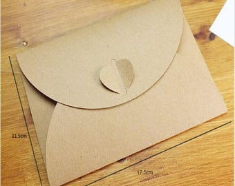 Set of 5 beautiful 11 kraft cardstock envelopes x 17.5 cm original heart closure