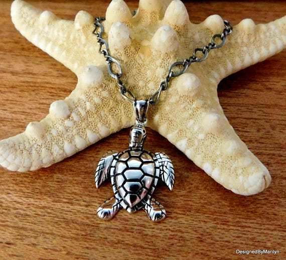 Sterling silver sea turtle Necklace, ocean theme jewelry,  turtle jewelry