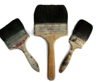 3 Weathered Worn Old Paint Brushes