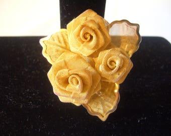 Vintage Goldtone Mesh Flower Brooch - Vintage 3 Dimensional Goldtone Mesh Rose Flower Pin Brooch by Anne Klein