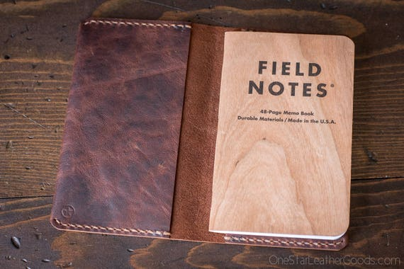 "Leather notebook cover for Field Notes and other 3.5x5.5"" pocket notebooks - Horween brown nut"
