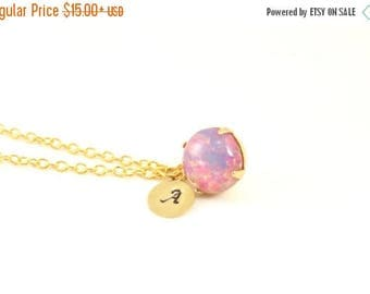 25% OFF SALE Opal Pendant w/ Initial Necklace, Faux Opal Necklace, Letter Necklace, Bridesmaids Necklace Gift, Pink Wedding Necklace, Glass