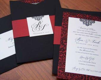 SAMPLE** Spanish-Inspired Wedding Invitation // Damask Wedding Invitation