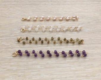 Bead Bracelet, Gold Bracelet, Dainty Bracelet, Pearl Bracelet