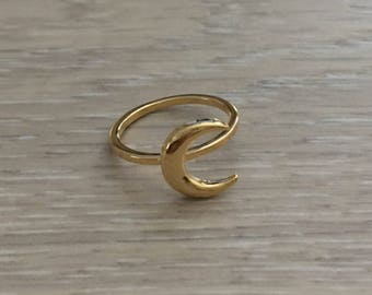 Crescent Moon Ring, Gold Ring, Stack Ring, Thin Ring