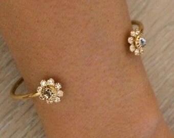 Rhinestone Cuffs, Gold Cuffs, Gold Bracelet, Thin Gold Cuff