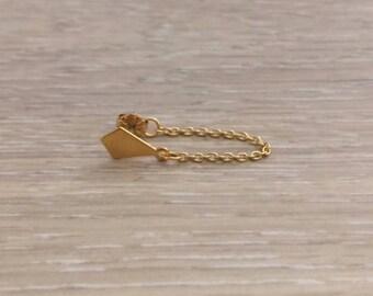 Chain Earring, Gold Chain Earring, Wrap Earring, Gold Earring, Edgy Earring