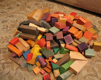Vintage Lot Wood Blocks, Over 150 Blocks, Vintage Wooden Blocks, Building Blocks, Construction Blocks, Children's Toy Blocks