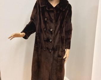 Mahogany Double Breasted Sheared Beaver Fur Coat, Wenger Furs, ca 1960s