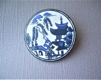 1944 MT FUJI JAPAN Hand Painted Australian Penny Pin Brooch-Vintage Antique Cobalt Blue White Enamel-Pagoda House Trees Village-Asian 01037