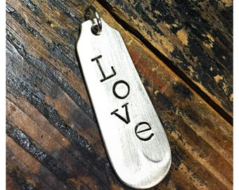 Stamped Vintage Upcycled Spoon Fork Jewelry Pendant Charm - Love